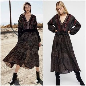 Free People | Starry Night Maxi Midi Dress Boho